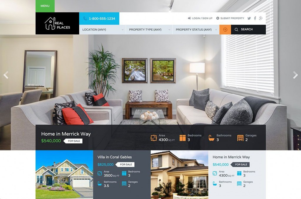 006 Best Real Estate Template Wordpres Inspiration  Homepres - Theme Free Download RealtyspaceLarge