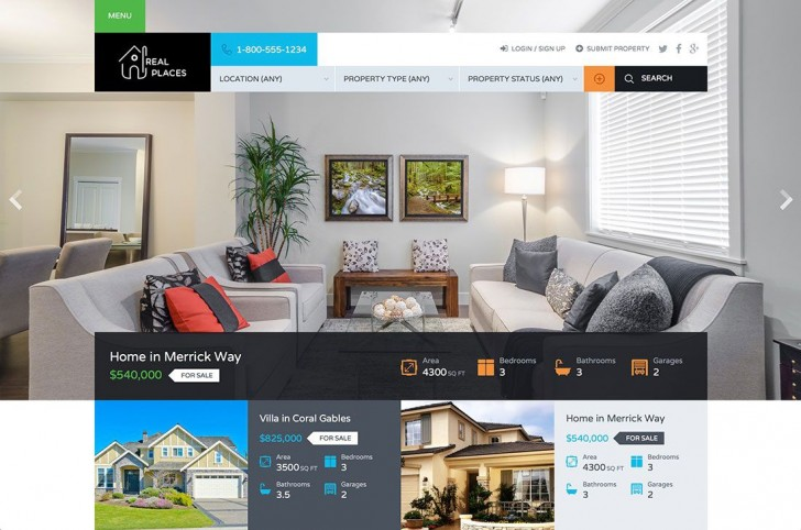 006 Best Real Estate Template Wordpres Inspiration  Homepres - Theme Free Download Realtyspace728