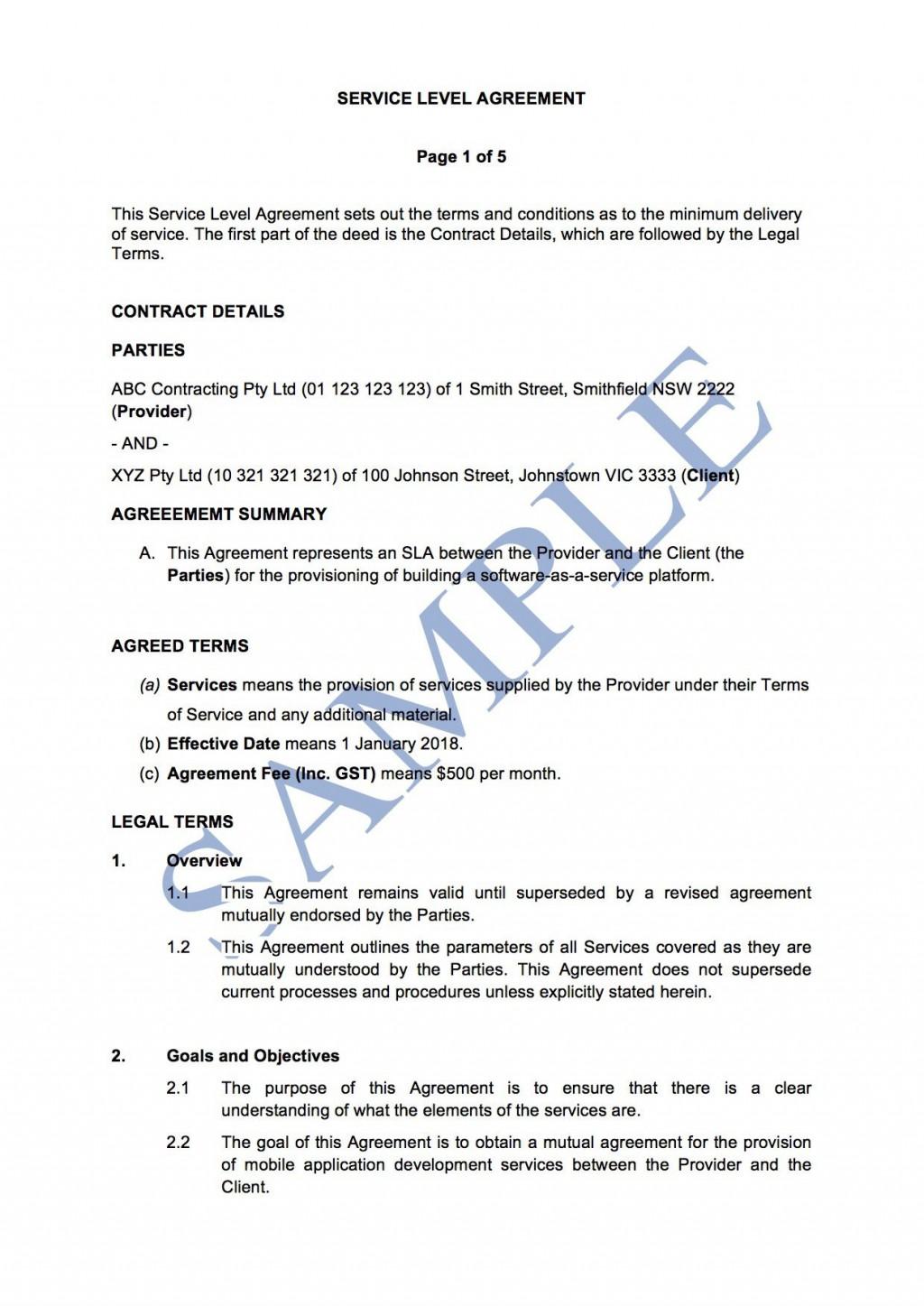006 Best Service Level Agreement Template Concept  South Africa Nz For Website DevelopmentLarge