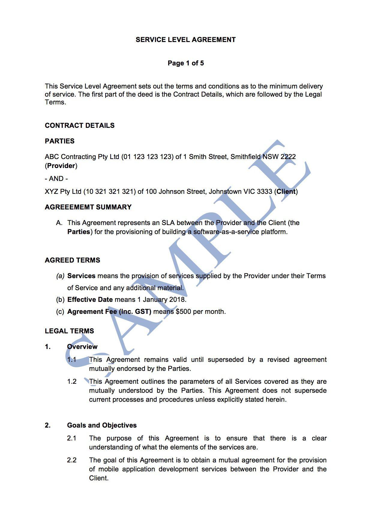 006 Best Service Level Agreement Template Concept  South Africa Nz For Website DevelopmentFull