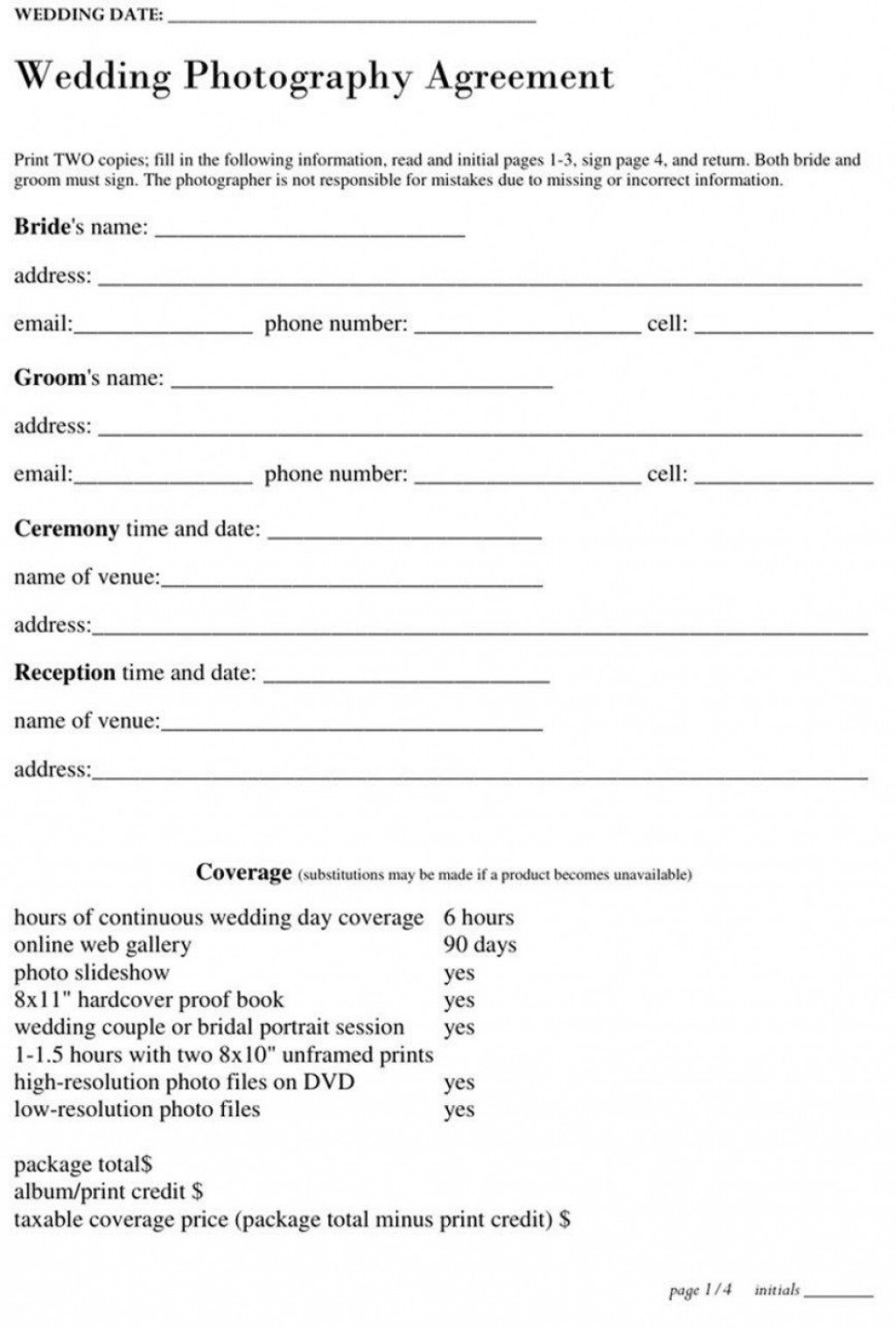 006 Best Wedding Photographer Contract Template Free Image  Simple Photography WordLarge