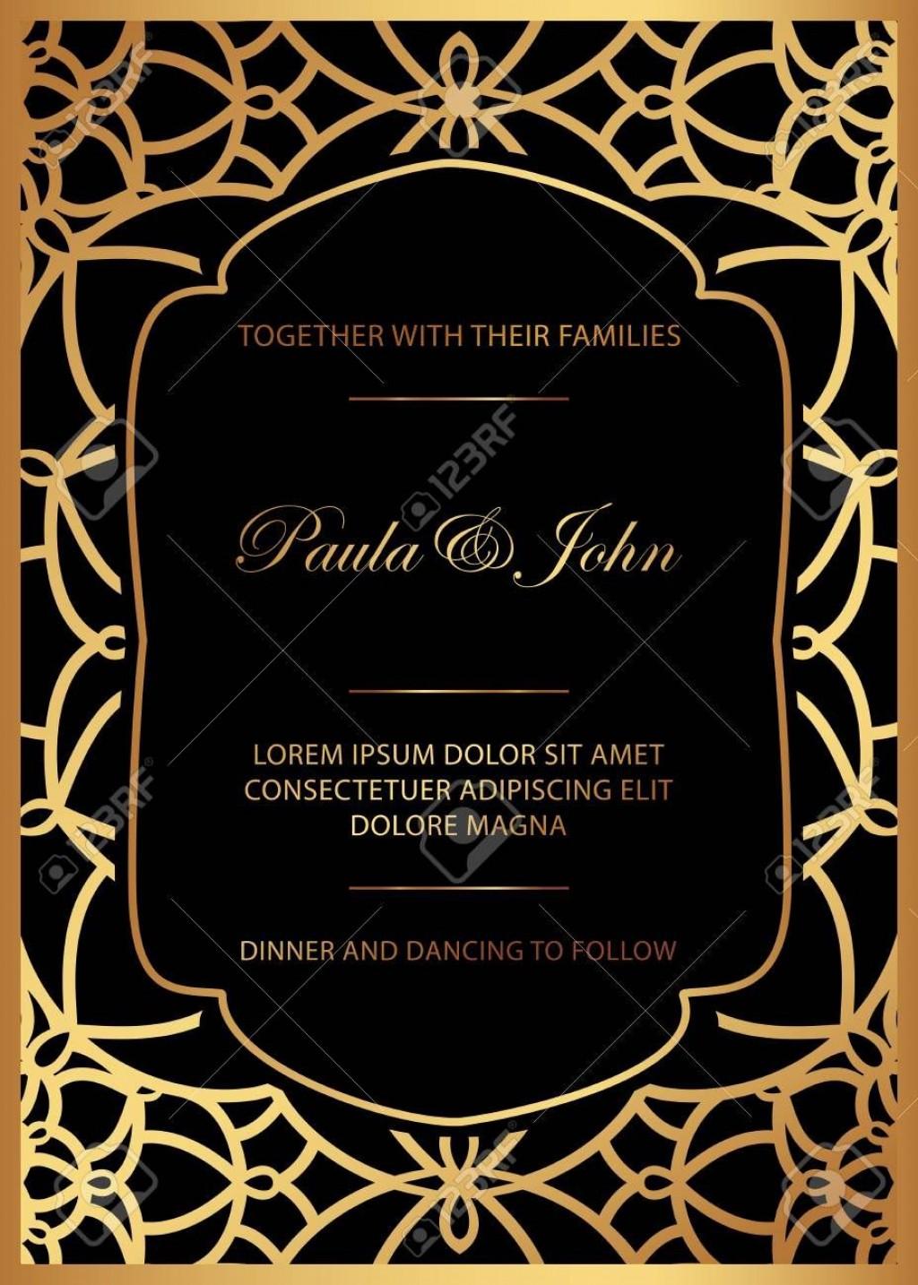 006 Breathtaking Black And Gold Invitation Template Idea  Design White Free PrintableLarge
