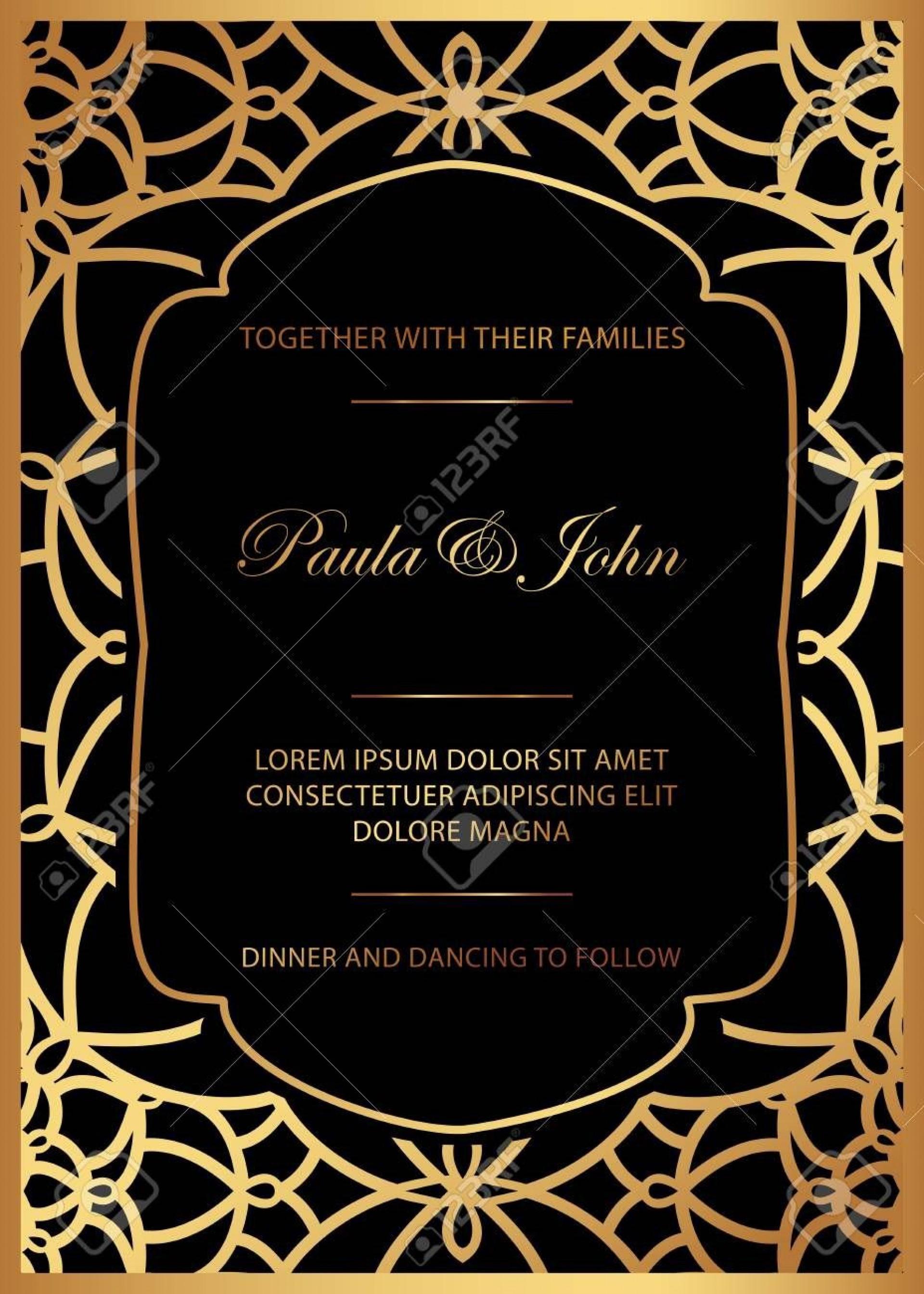 006 Breathtaking Black And Gold Invitation Template Idea  Design White Free Printable1920