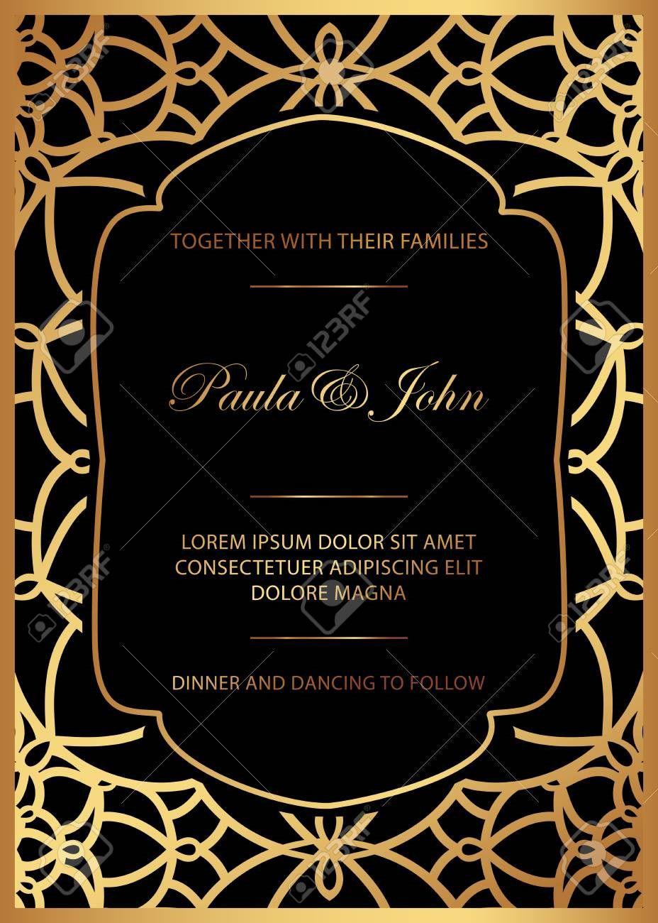 006 Breathtaking Black And Gold Invitation Template Idea  Design White Free PrintableFull