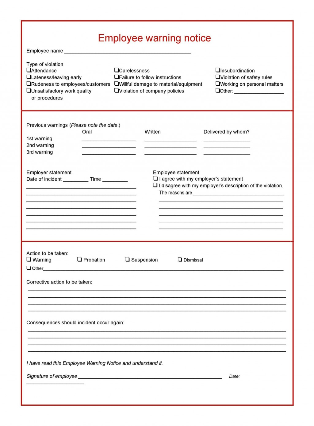 006 Breathtaking Employee Warning Notice Template Word Highest Quality Large