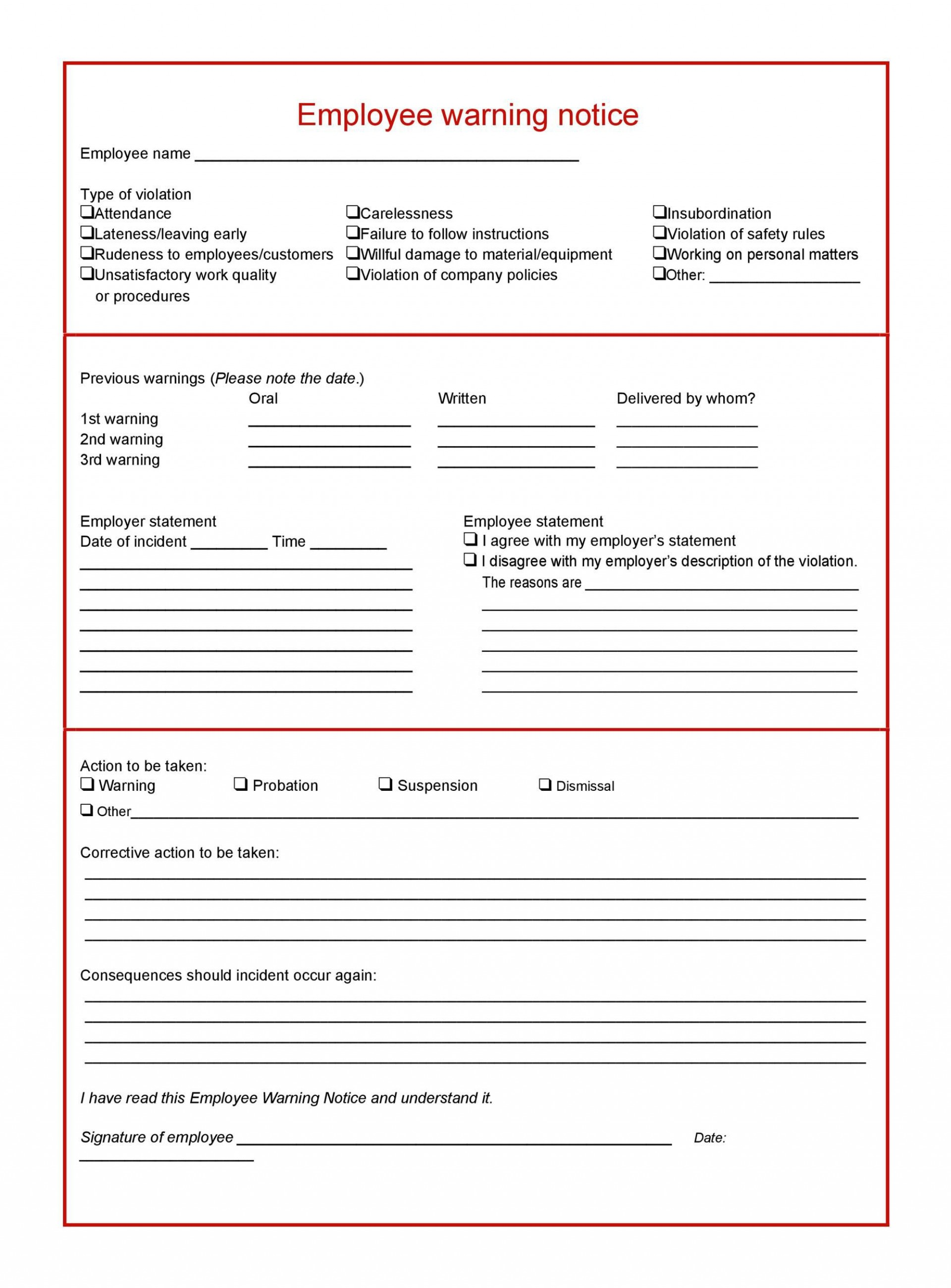 006 Breathtaking Employee Warning Notice Template Word Highest Quality 1920