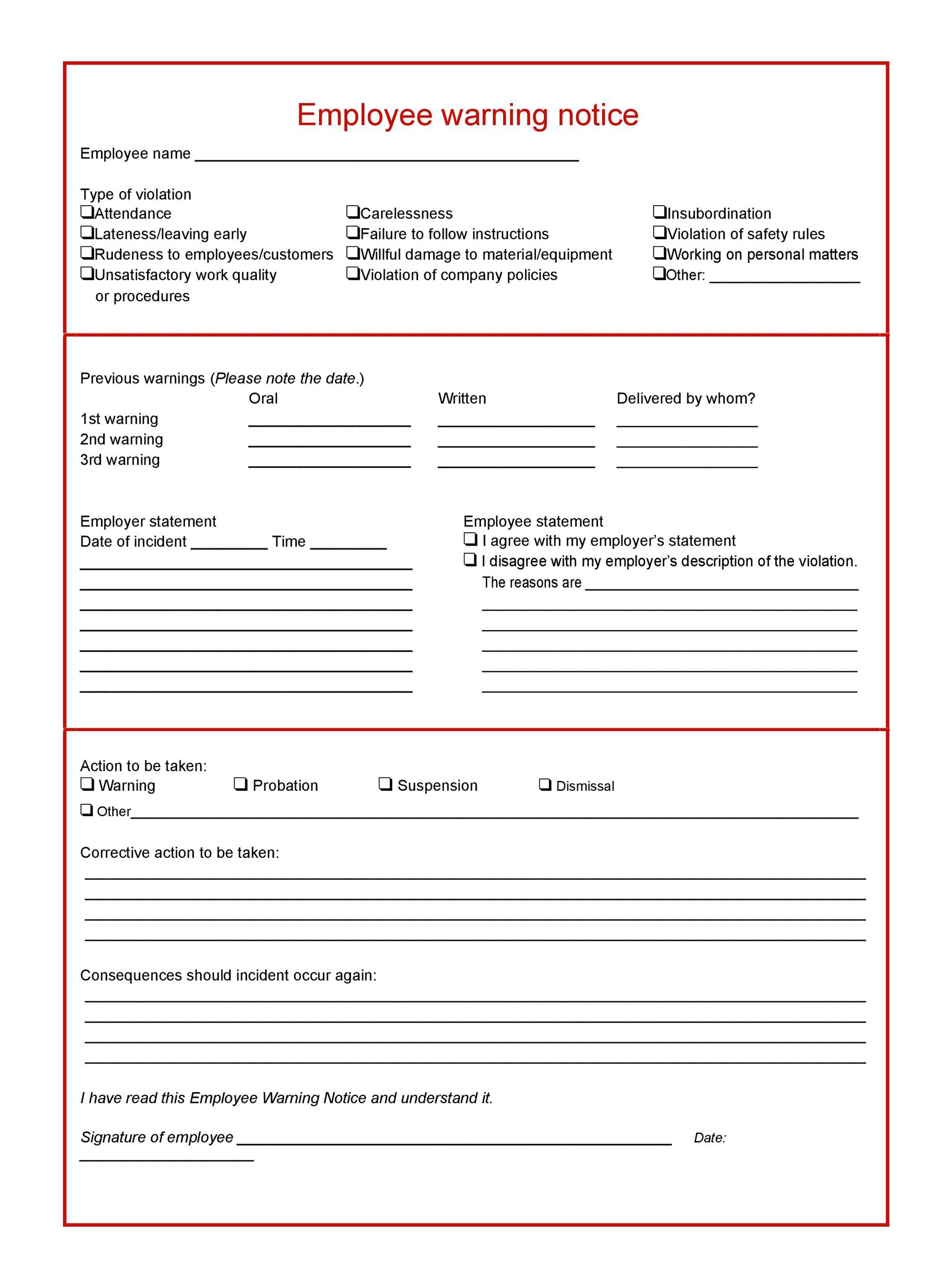 006 Breathtaking Employee Warning Notice Template Word Highest Quality Full