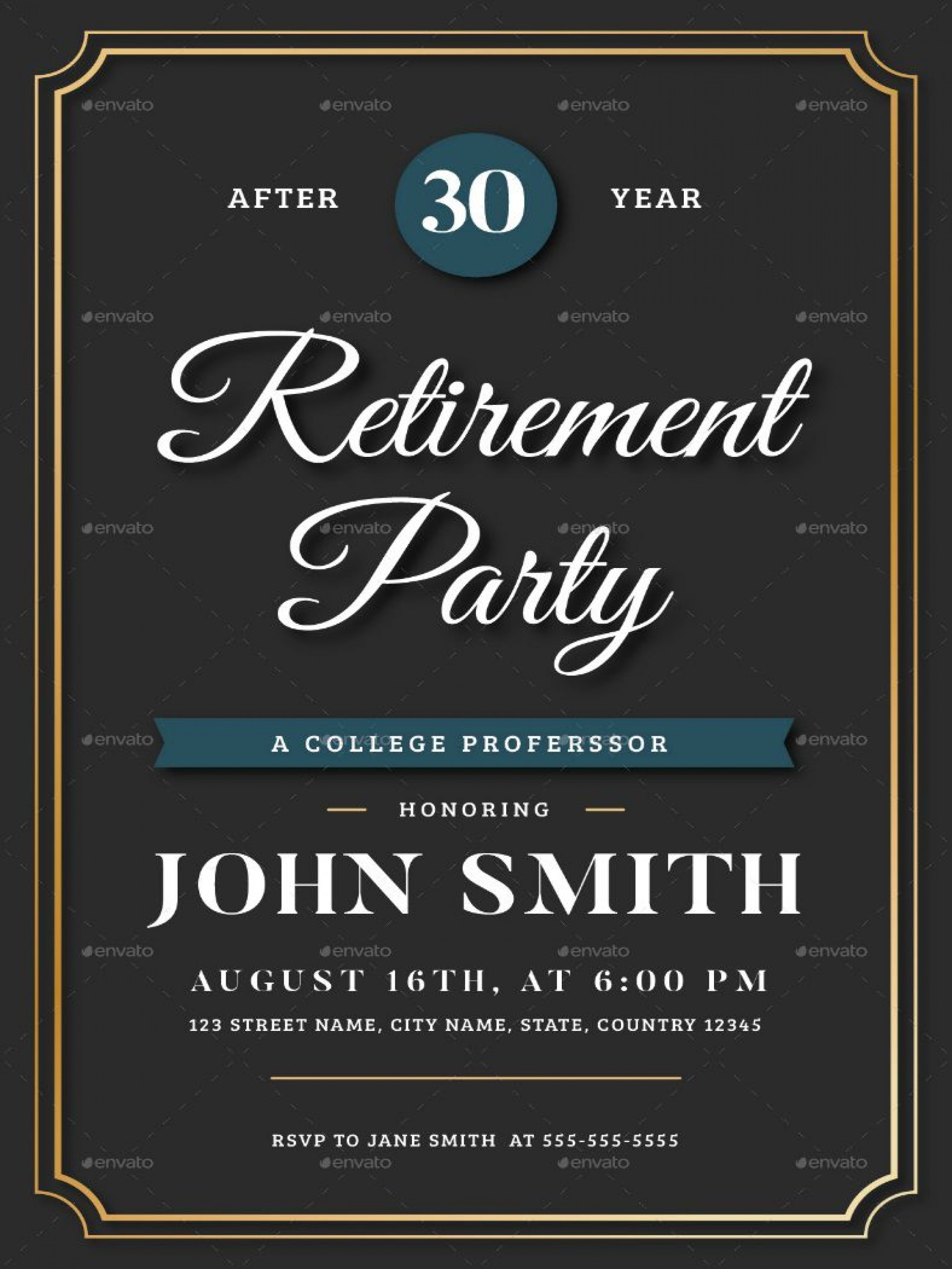 006 Breathtaking Free Retirement Invitation Template Sample  Templates Microsoft Word Party Flyer1920