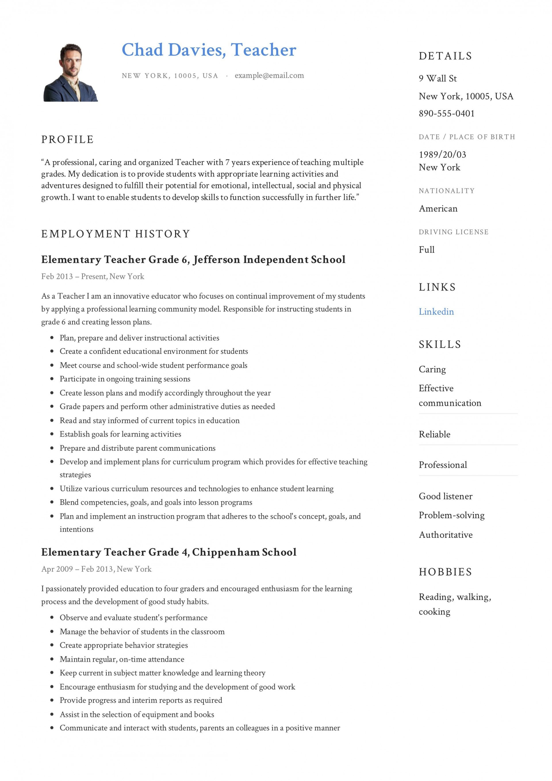 006 Breathtaking Resume Sample For Teaching Job In India Highest Quality  School Principal Position1920