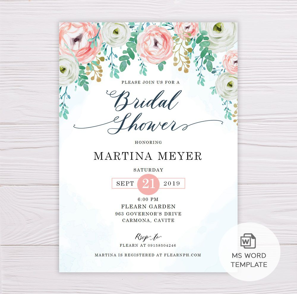 006 Breathtaking Wedding Shower Invitation Template Highest Quality  Templates Bridal Pinterest Microsoft Word Free ForFull