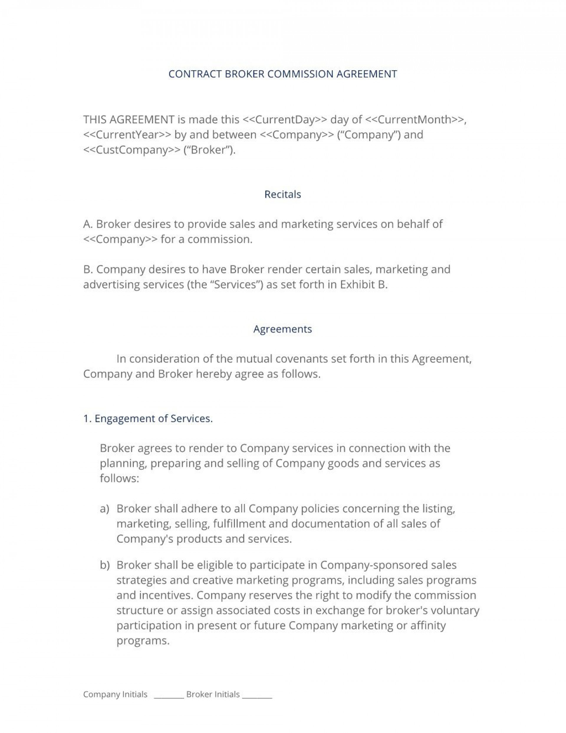 006 Dreaded Commission Sale Agreement Template Free Photo  Word International1920
