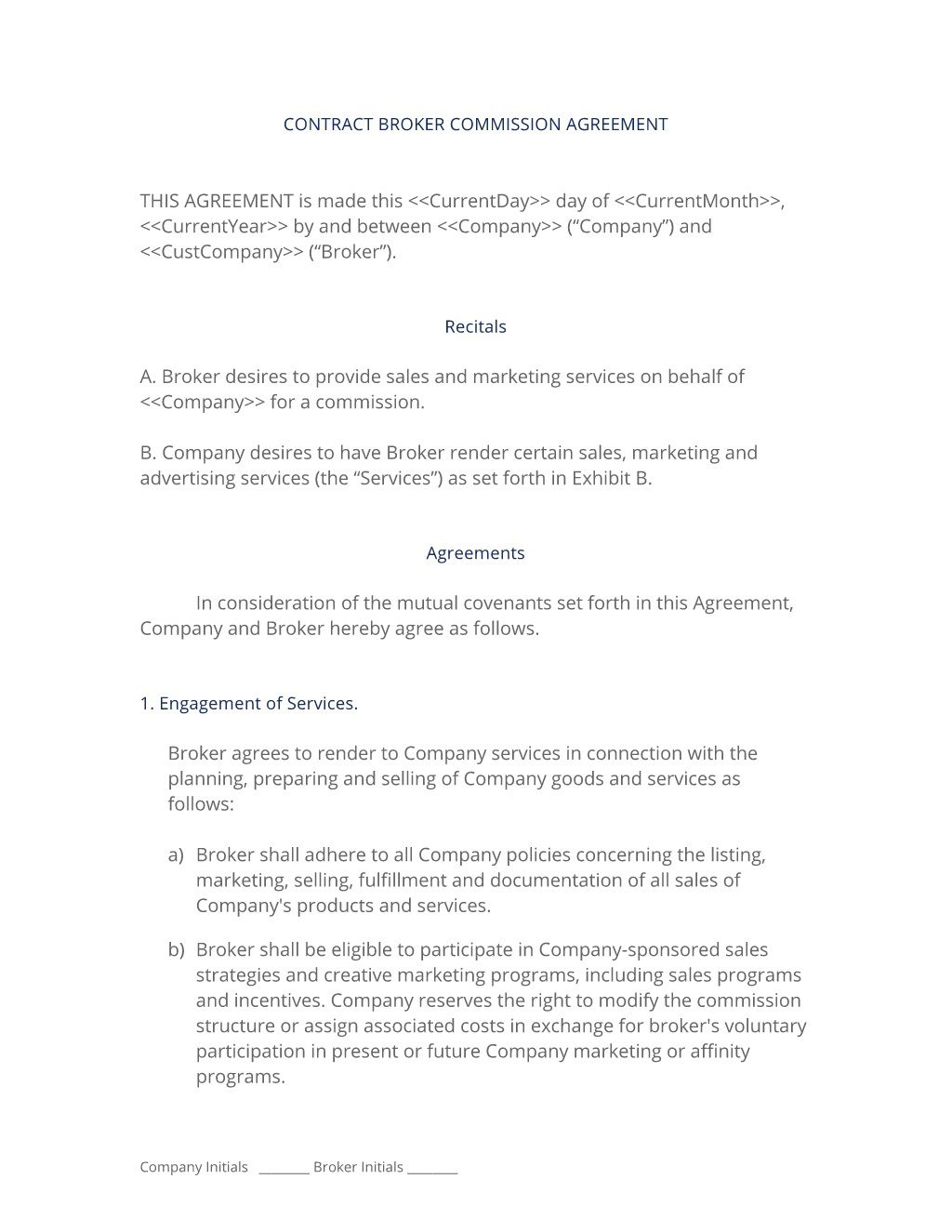 006 Dreaded Commission Sale Agreement Template Free Photo  Word InternationalFull