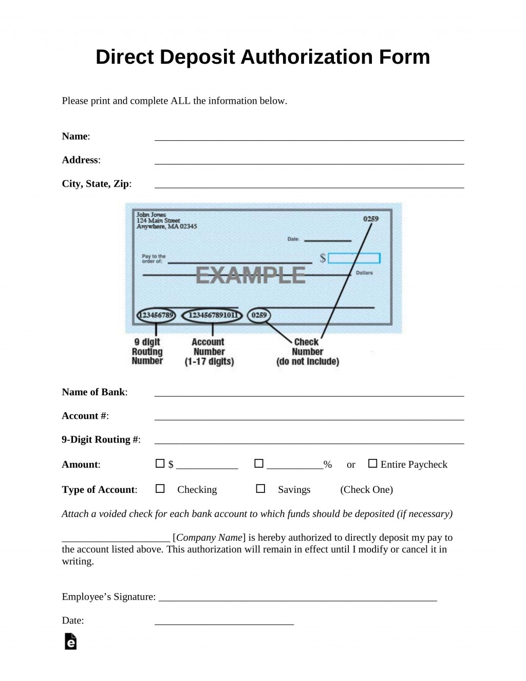 006 Dreaded Direct Deposit Form Template Highest Quality  Multiple Account Ach AuthorizationLarge