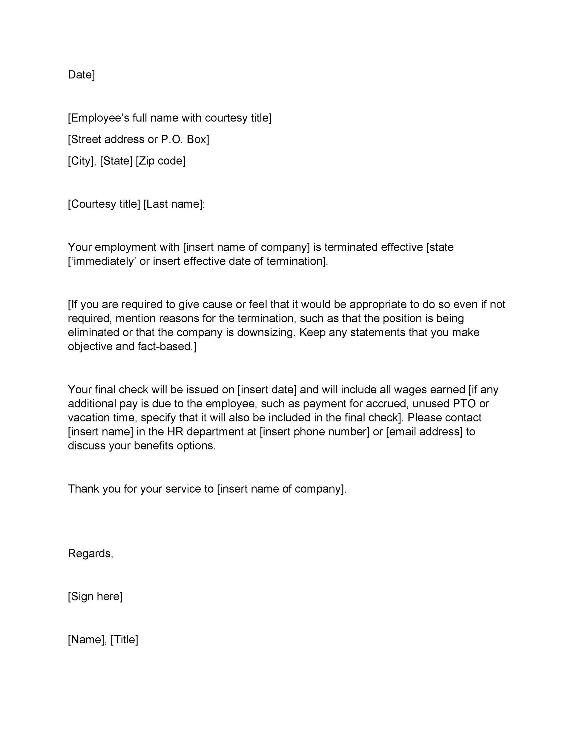 Employee Termination Letter Templates Addictionary