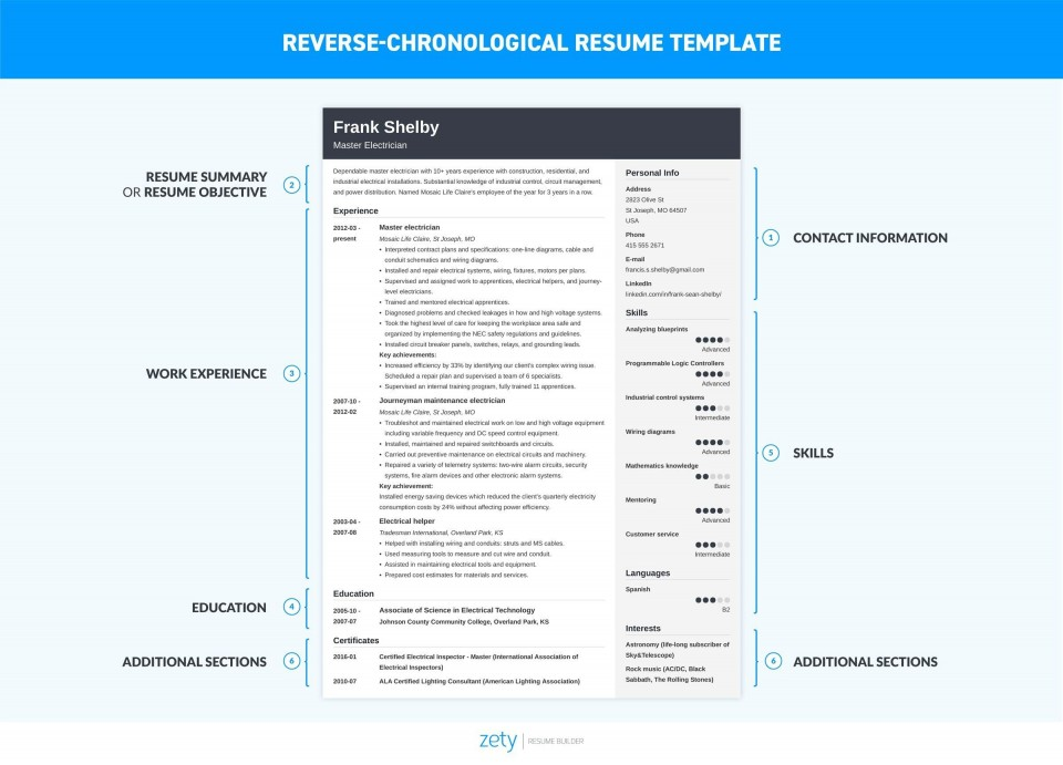 006 Dreaded Free Chronological Resume Template Idea  2020 Cv960