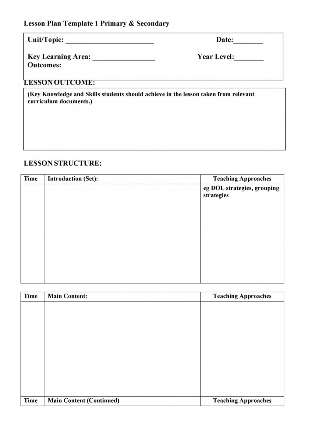 006 Dreaded Free Printable Lesson Plan Template For High School Sample Large