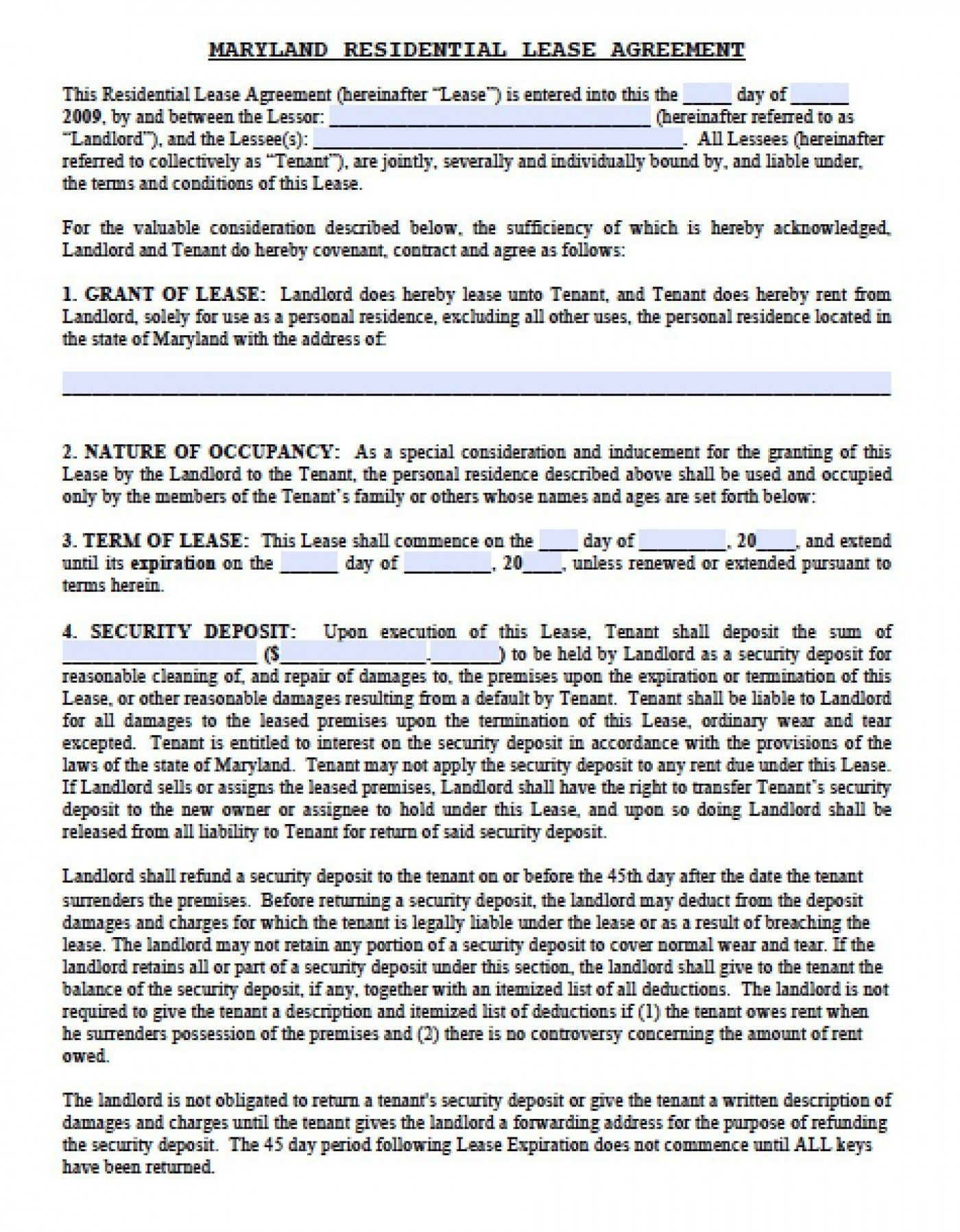 006 Dreaded Generic Rental Lease Agreement Md High Resolution  Sample Maryland1400