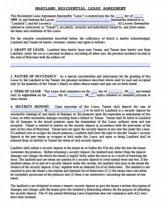 006 Dreaded Generic Rental Lease Agreement Md High Resolution  Sample Maryland320