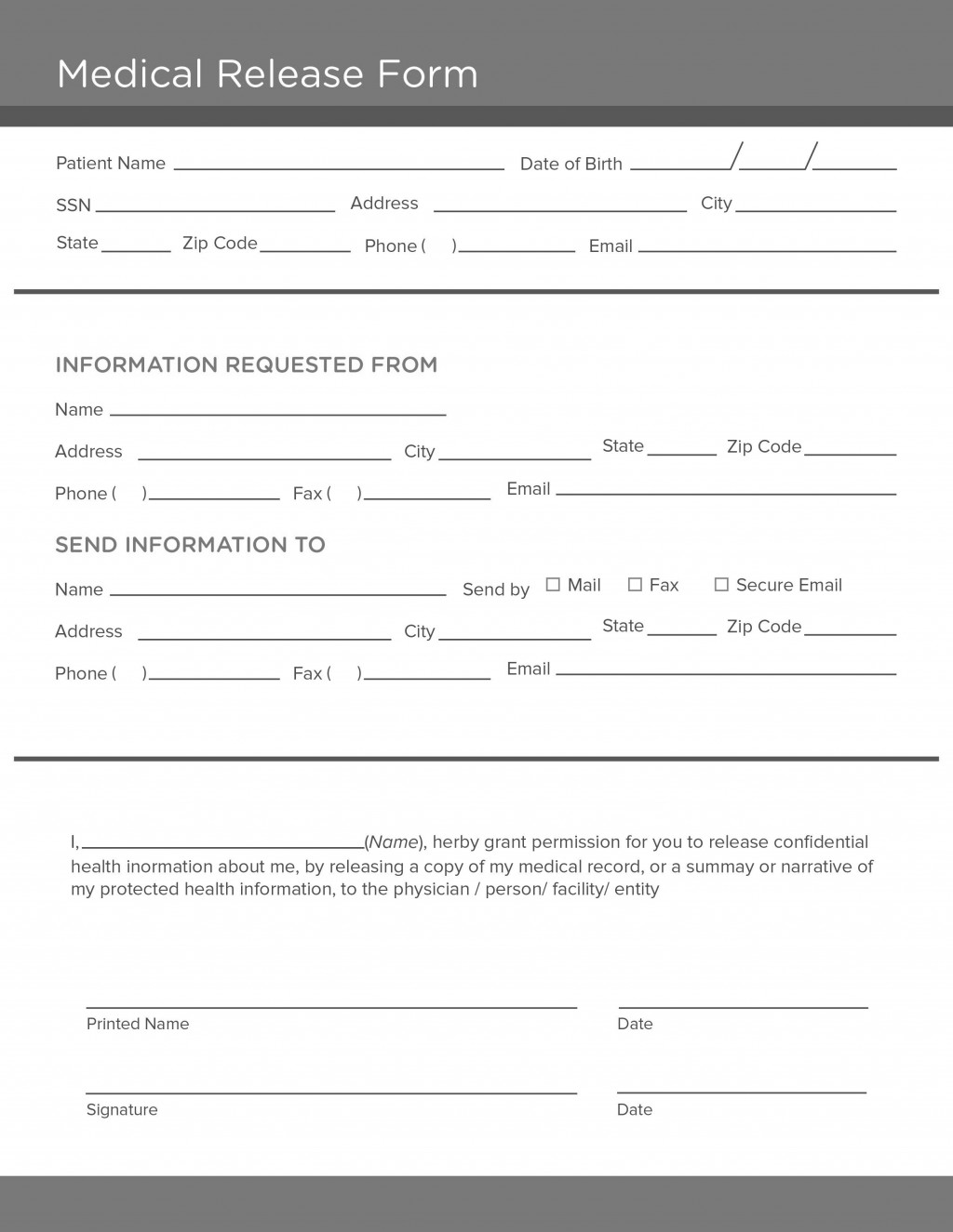 006 Dreaded Medical Record Request Form Template Picture  Free Release AuthorizationLarge