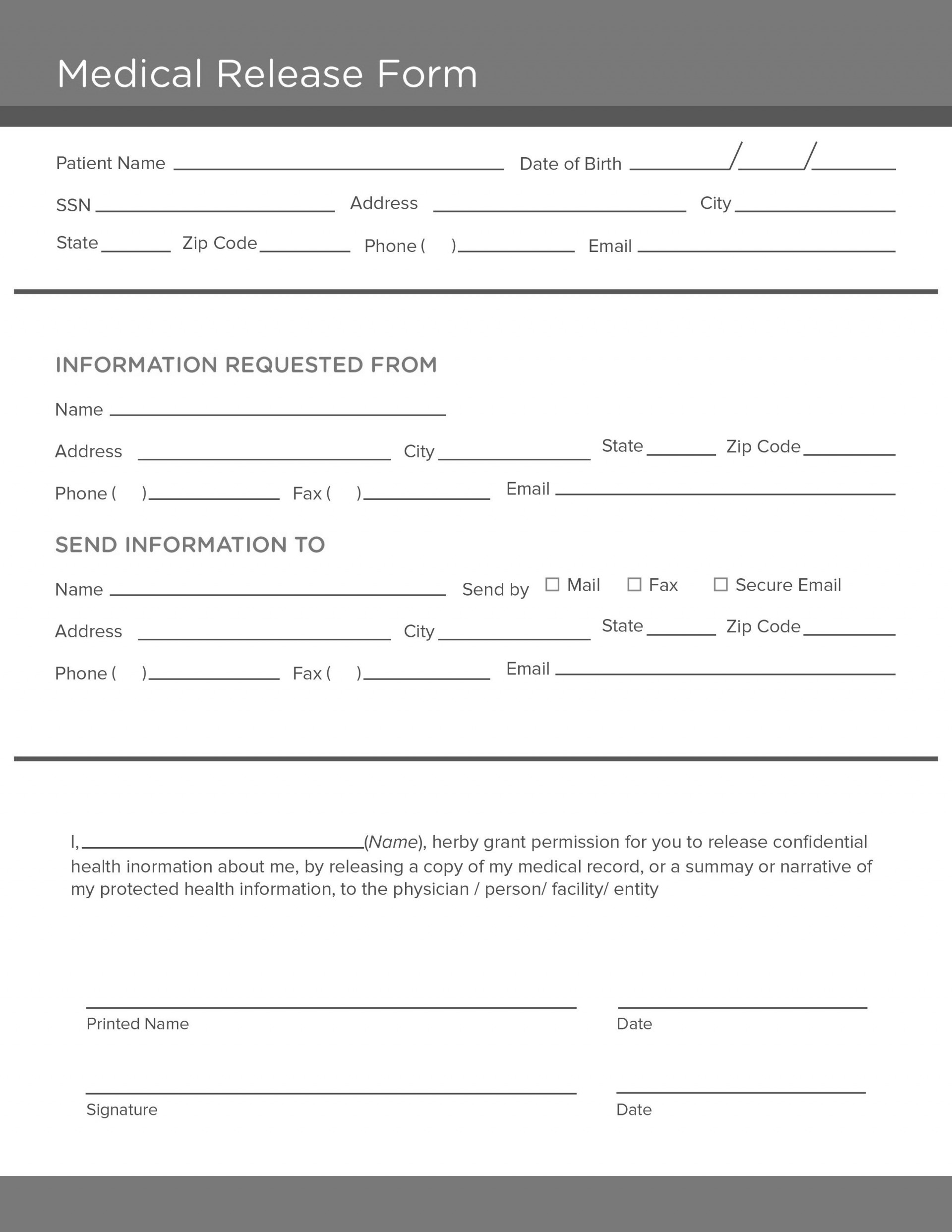006 Dreaded Medical Record Request Form Template Picture  Free Release Authorization1920