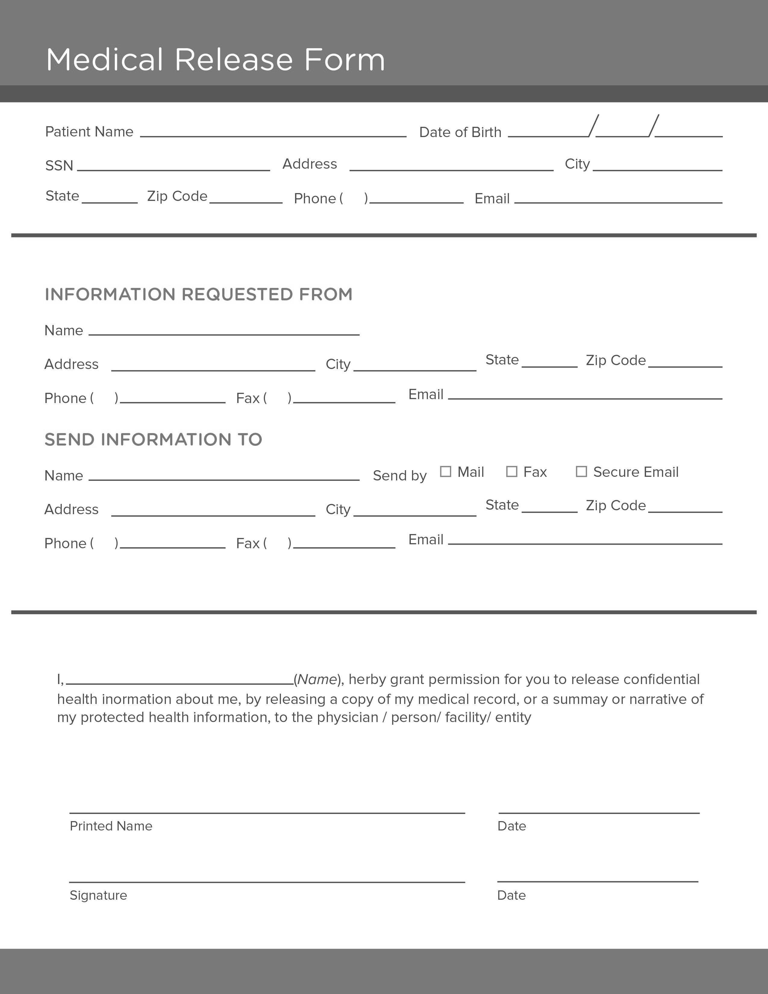 006 Dreaded Medical Record Request Form Template Picture  Free Release AuthorizationFull