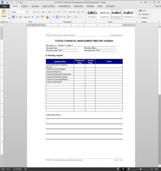 006 Dreaded Meeting Agenda Template Word Picture  Microsoft Board 2010 Example320