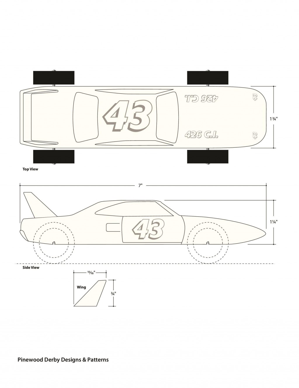 006 Dreaded Pinewood Derby Car Design Template Concept  Fast WedgeLarge