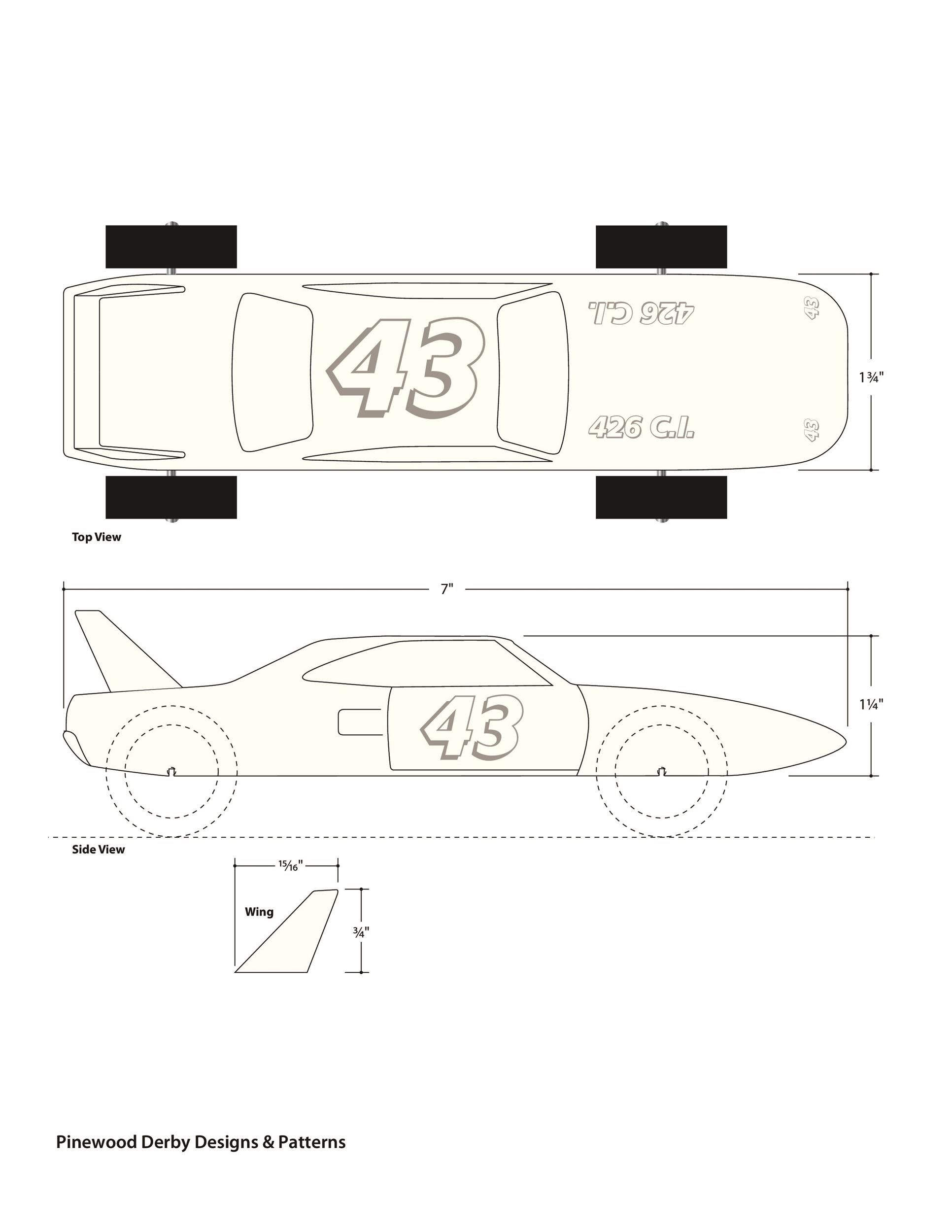 006 Dreaded Pinewood Derby Car Design Template Concept  Fast WedgeFull