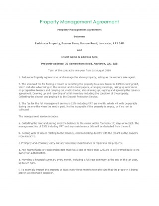 006 Dreaded Property Management Contract Sample Example  Agreement Template Pdf Company Free Uk320