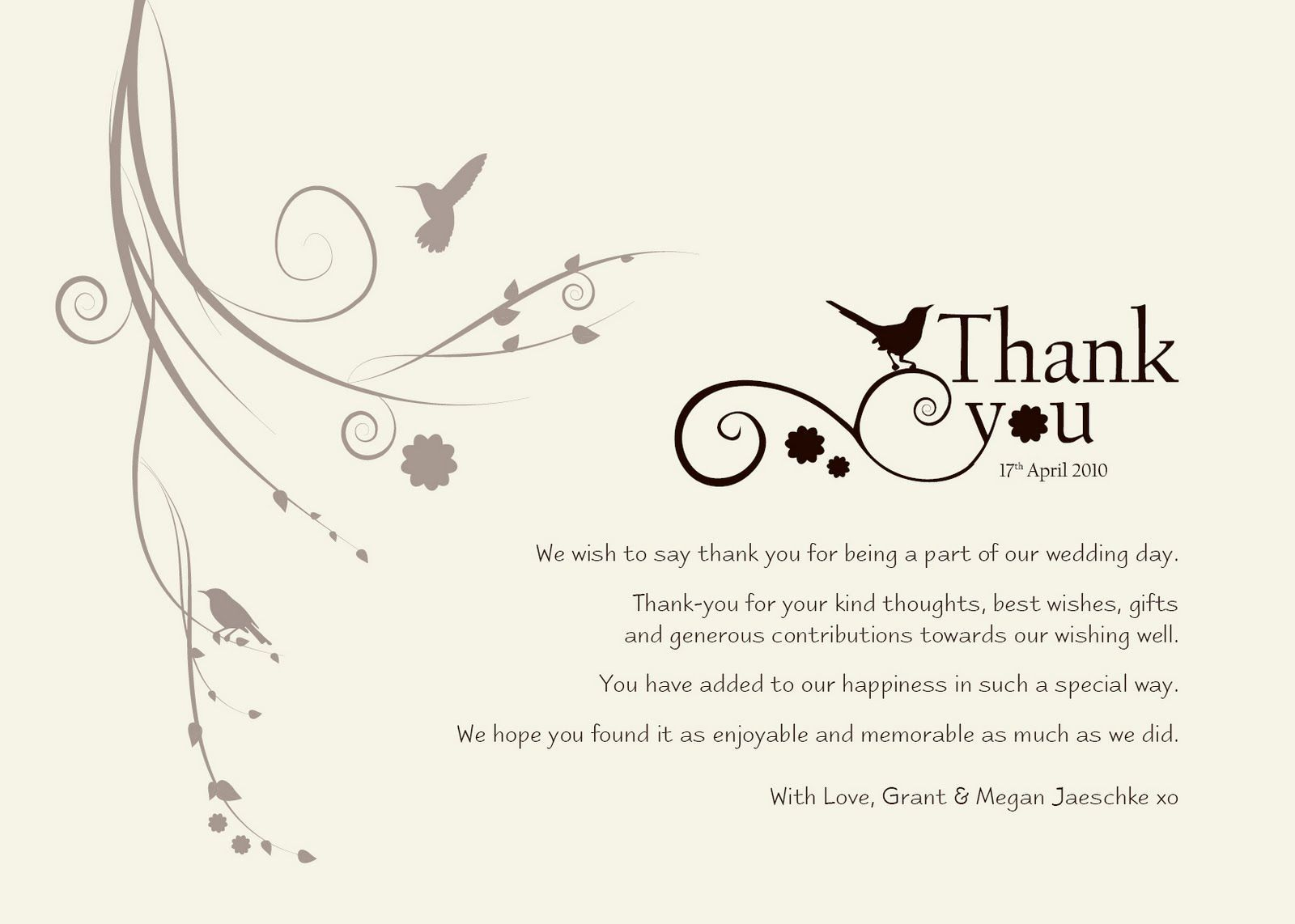 006 Dreaded Thank You Note Format Wedding High Definition  Example Card Wording Not Attending Sample For GiftFull