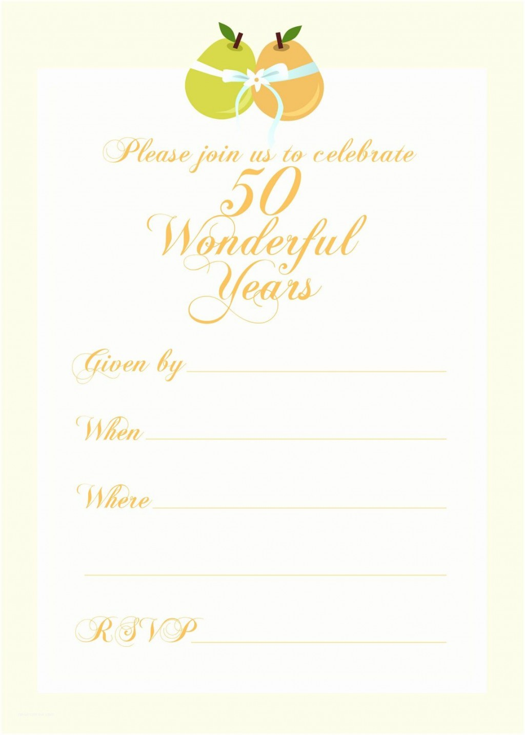 006 Excellent 50th Anniversary Invitation Template Picture  Templates Wedding Free Download GoldenLarge