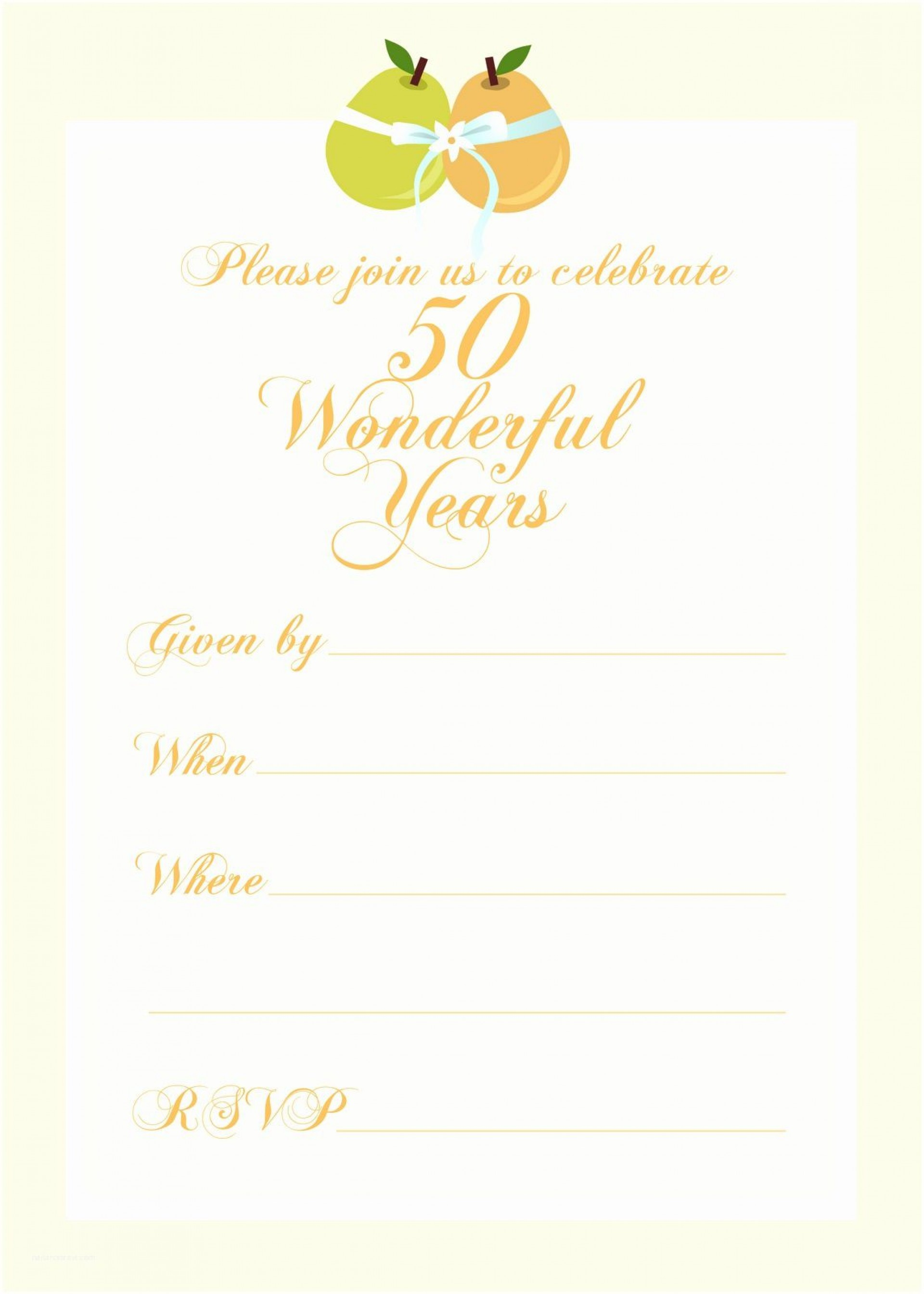 006 Excellent 50th Anniversary Invitation Template Picture  Templates Wedding Free Download Golden1920