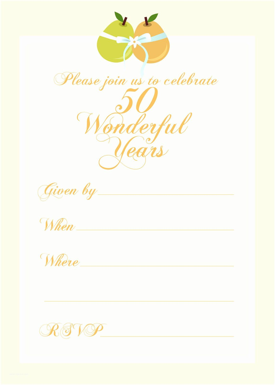 006 Excellent 50th Anniversary Invitation Template Picture  Templates Wedding Free Download GoldenFull