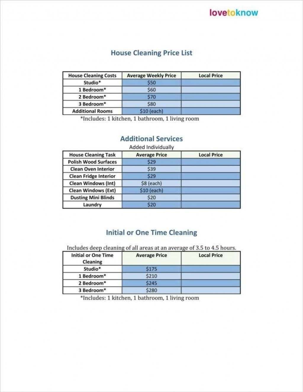 006 Excellent Cleaning Service Price List Template High Def  Commercial PdfLarge