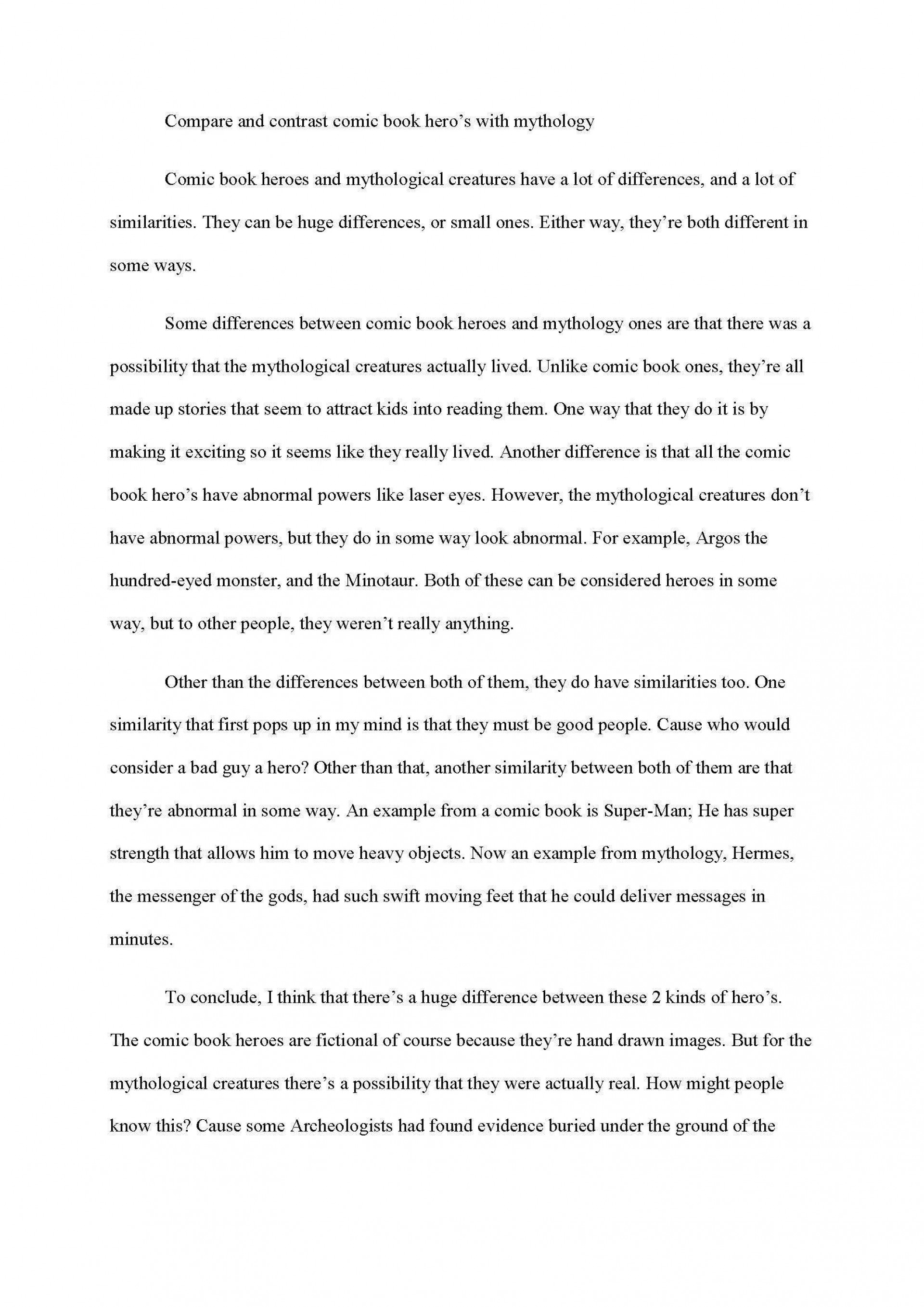 006 Excellent Compare And Contrast Essay Example College  For Topic Outline1920
