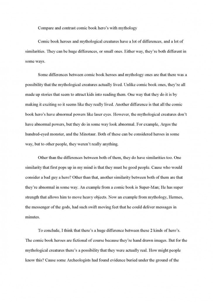006 Excellent Compare And Contrast Essay Example College  For Topic Outline728