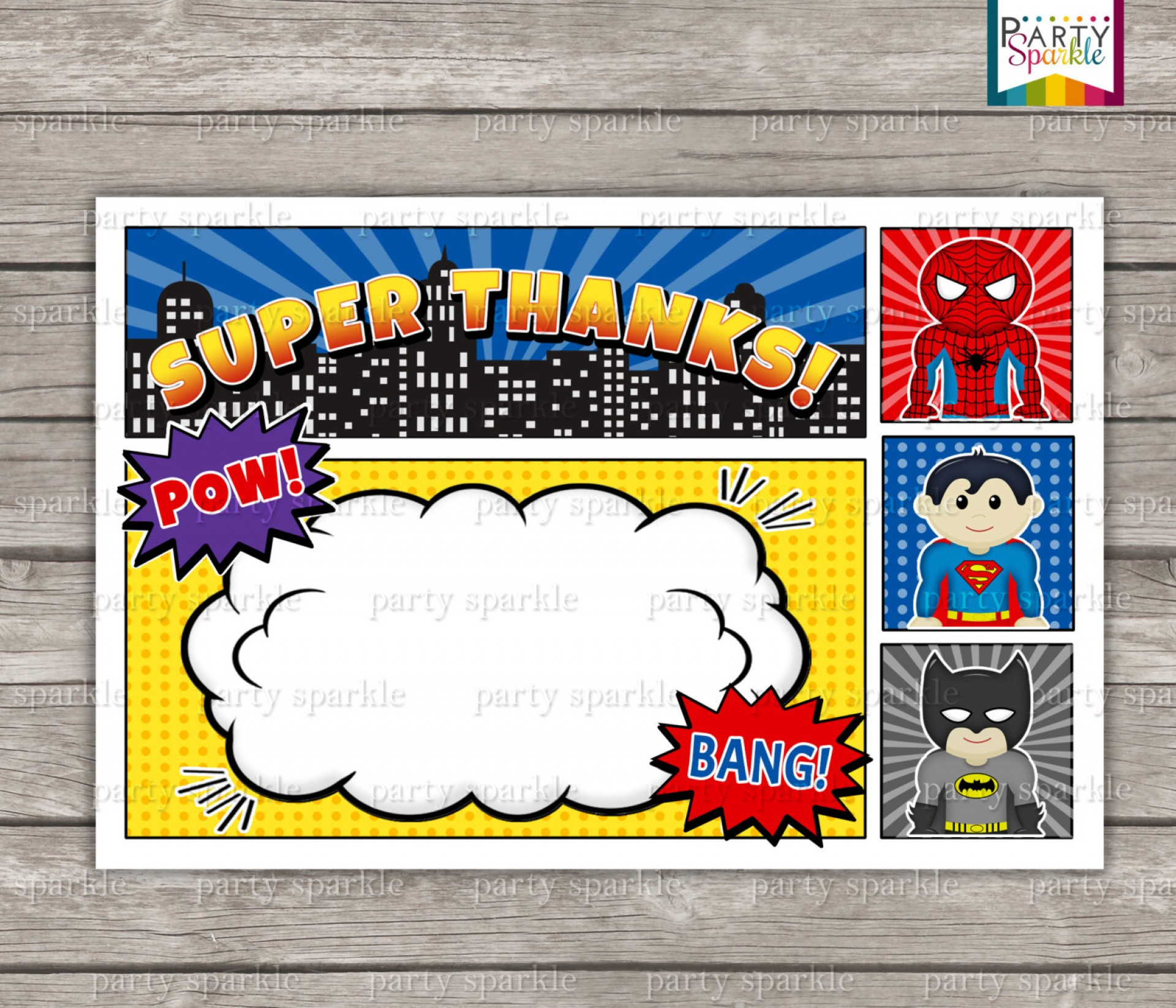 006 Excellent Editable Superhero Invitation Template Free Concept 1920
