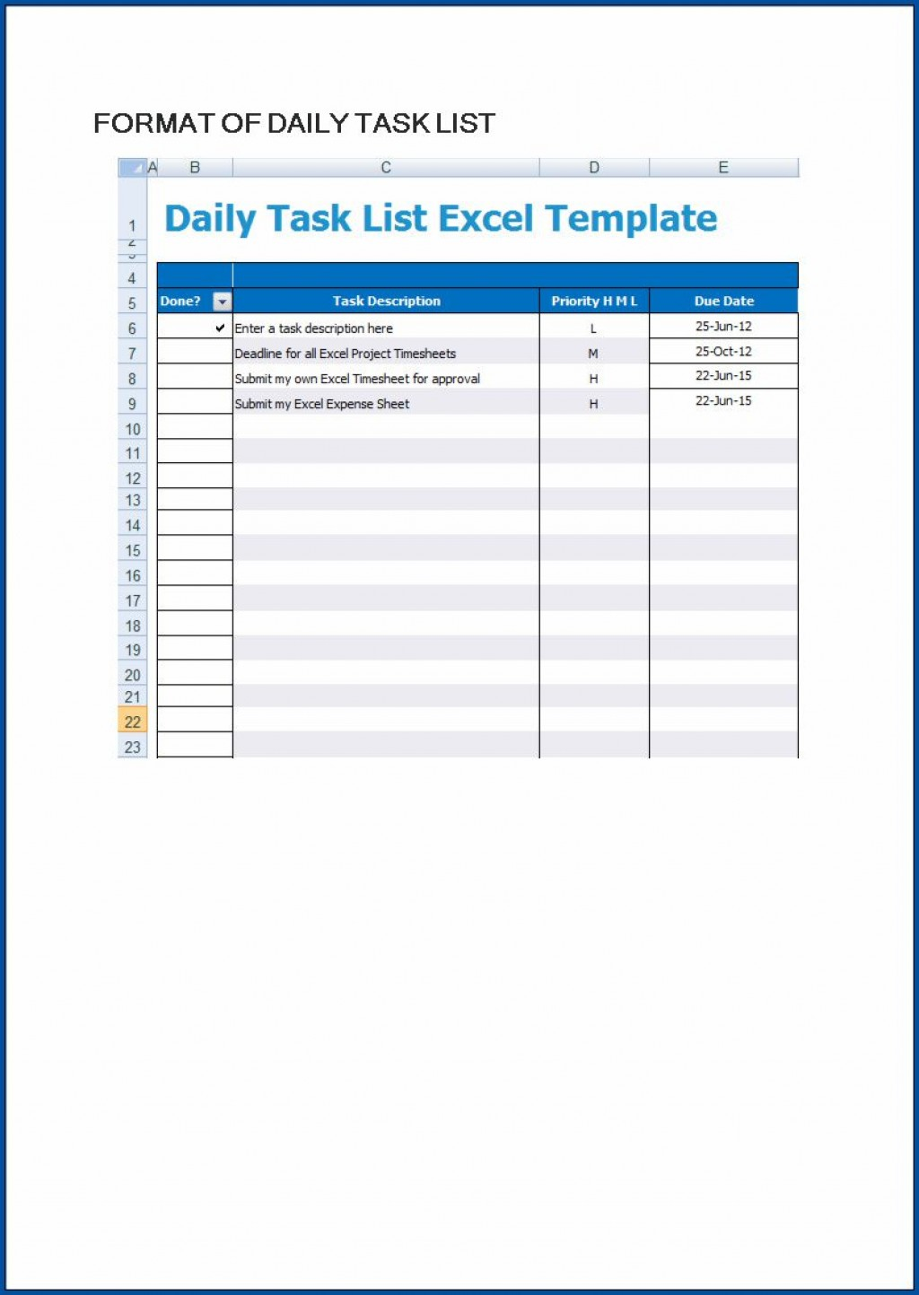 006 Excellent Excel To Do List Template Example  Xlsx BestLarge