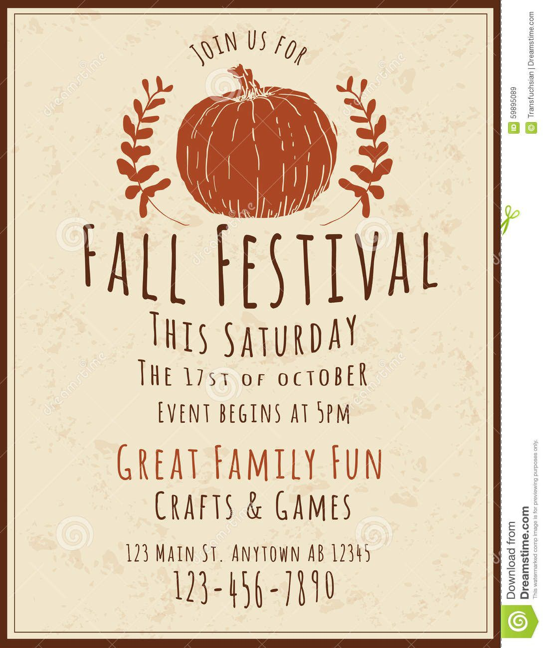 006 Excellent Fall Festival Flyer Template Idea  FreeFull