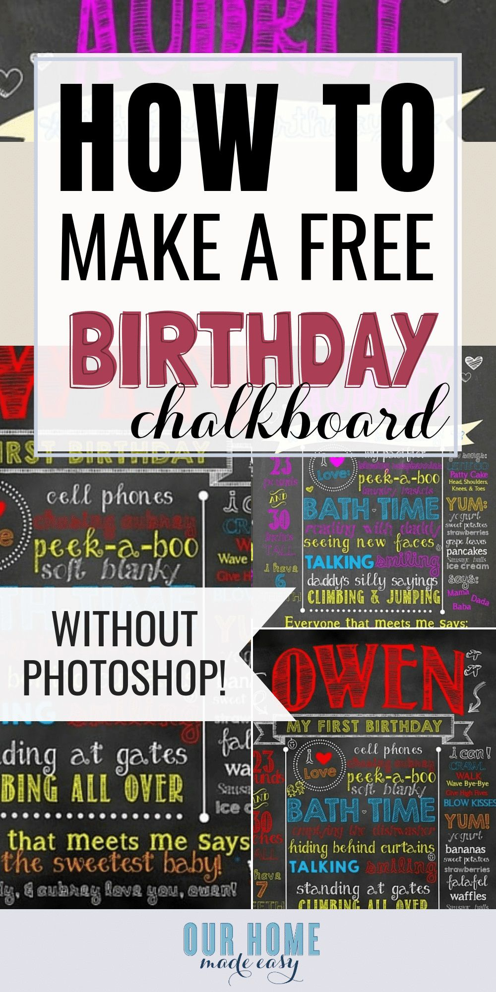 006 Excellent First Birthday Chalkboard Template Design  Diy Printable FreeFull