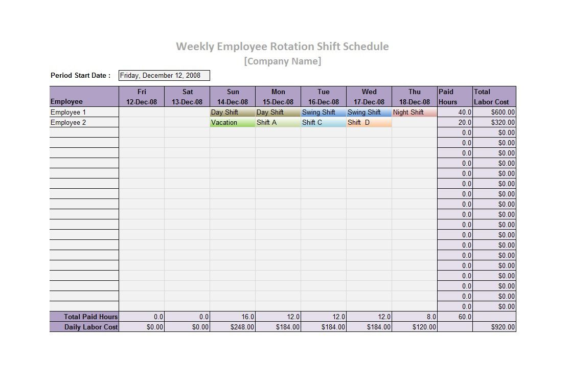 006 Excellent Free 12 Hour Rotating Shift Schedule Template Concept Full