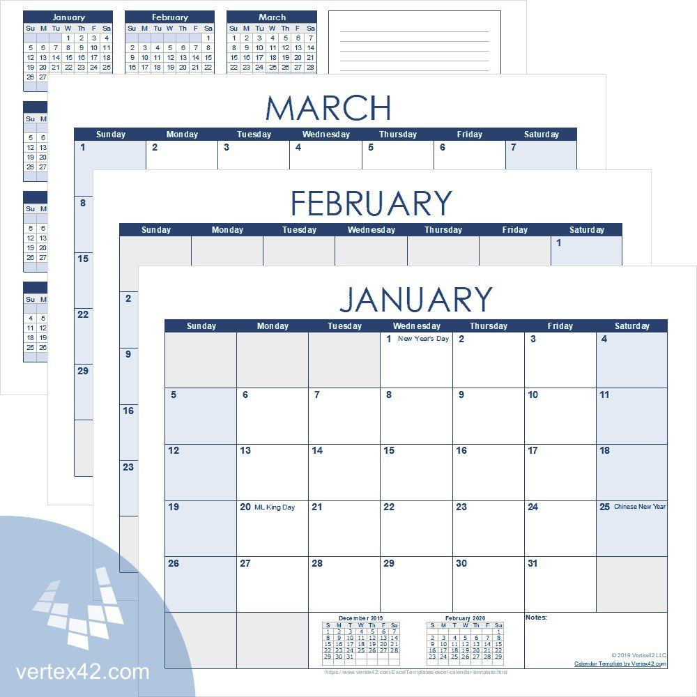 006 Excellent Free Calendar Template Excel Picture  Monthly 2020 Perpetual 2019Full