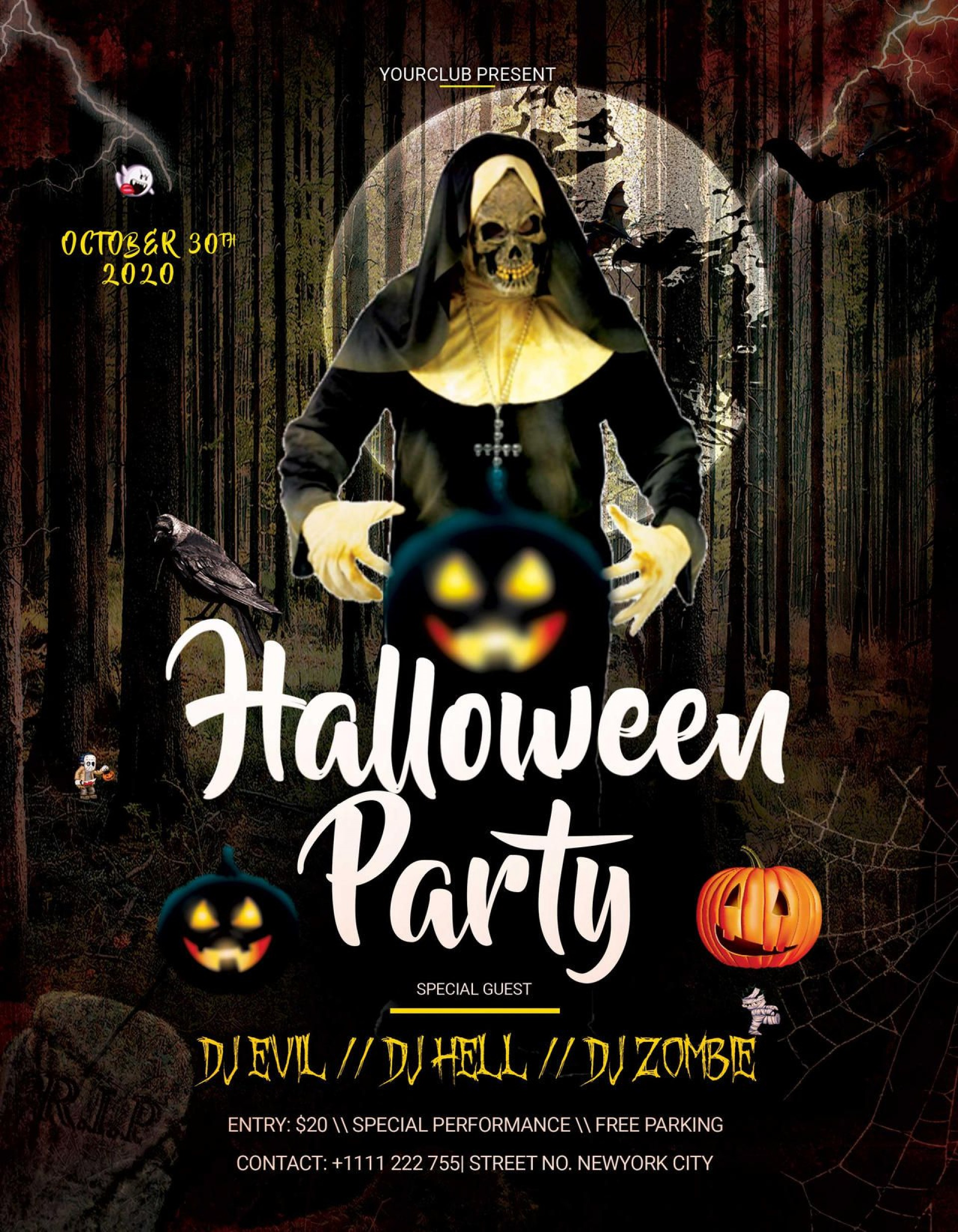 006 Excellent Free Halloween Party Flyer Template Inspiration  Templates1920