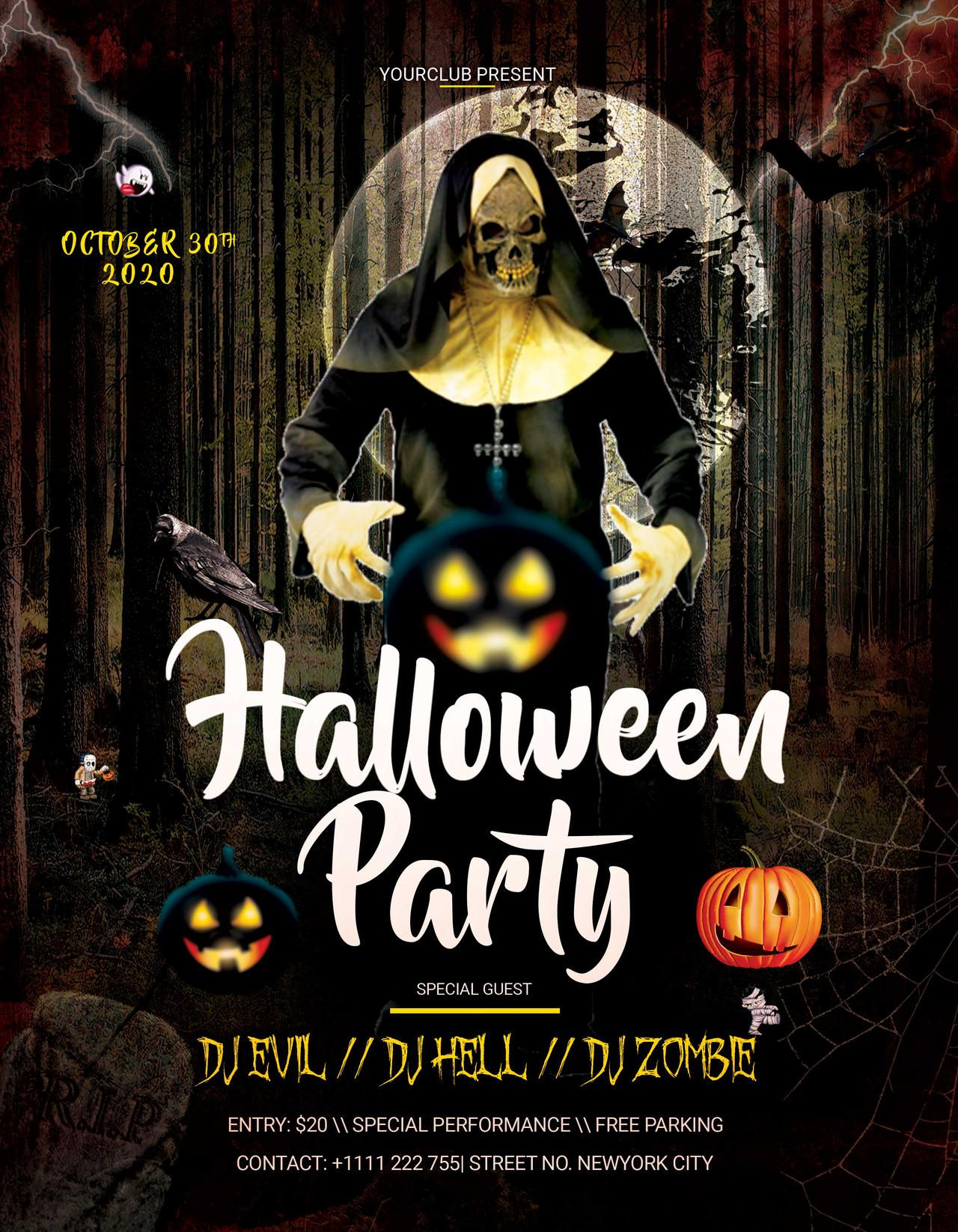 006 Excellent Free Halloween Party Flyer Template Inspiration  TemplatesFull