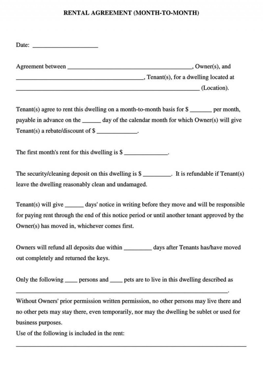 006 Excellent Free Lease Agreement Form Pdf Inspiration  Residential To Print RentalLarge