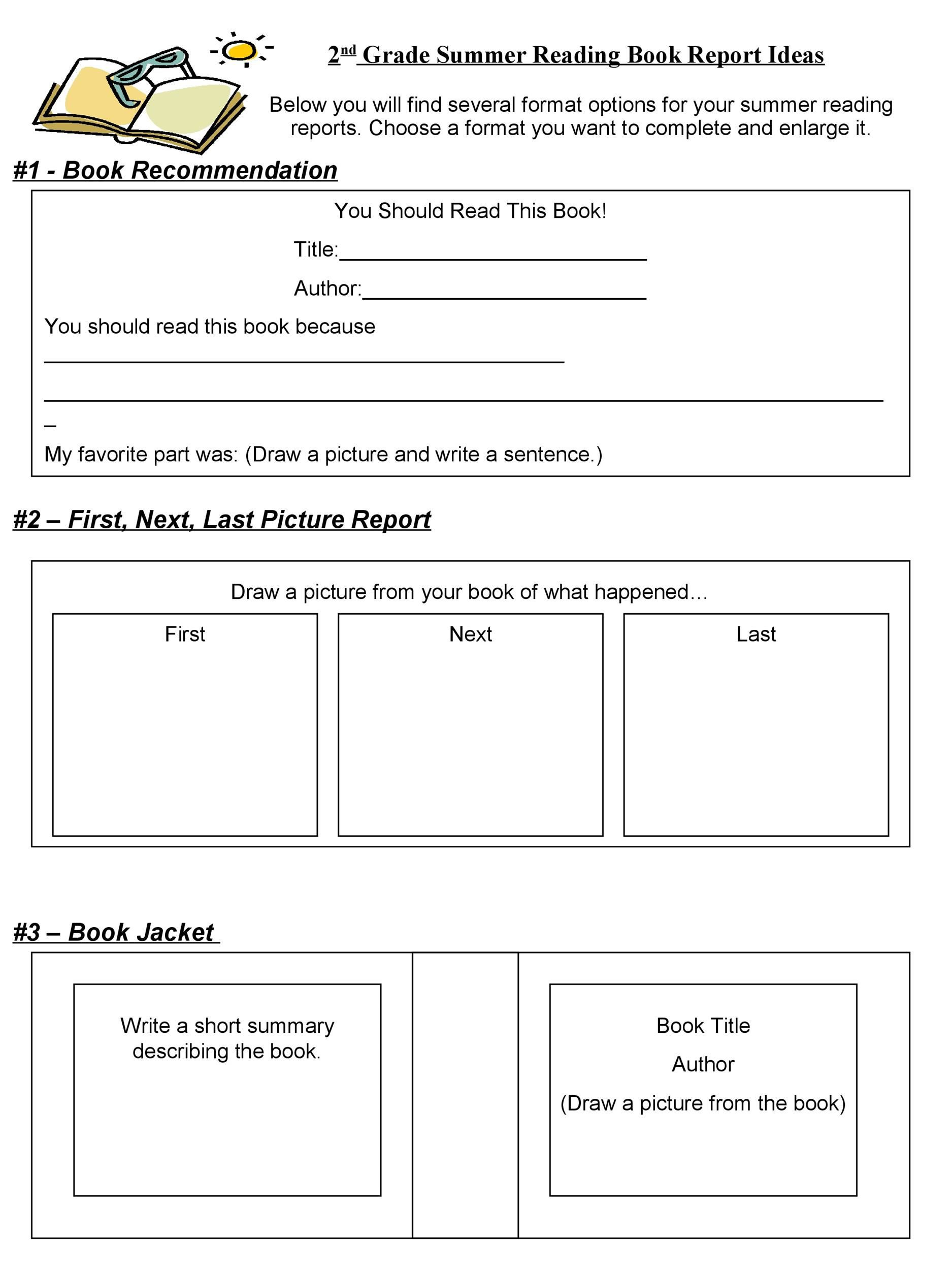006 Excellent Free Printable Book Report Template For 6th Grade Sample Full