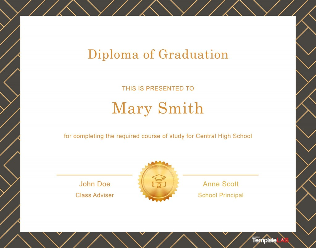 006 Excellent Free Printable High School Diploma Online Image Large