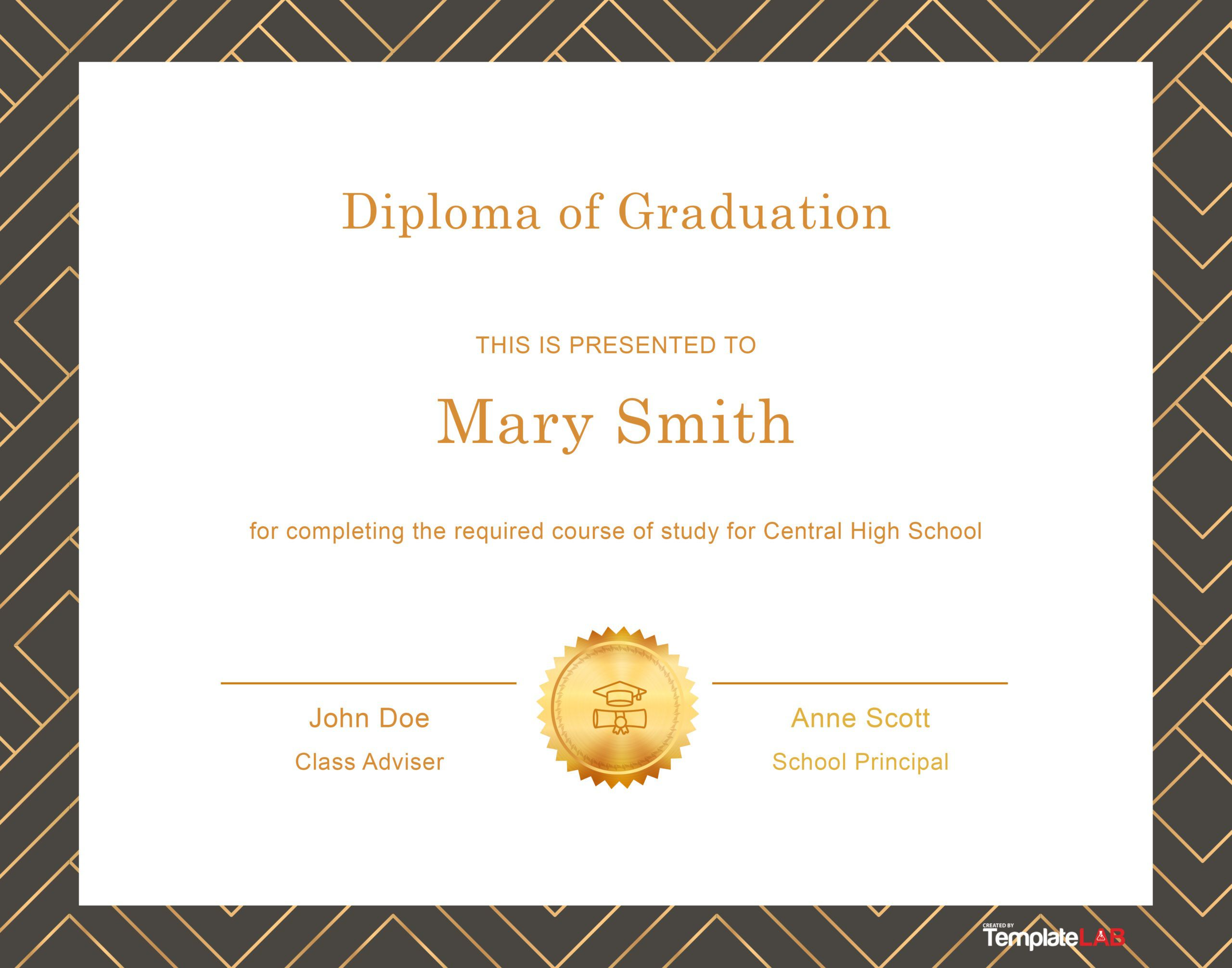 006 Excellent Free Printable High School Diploma Online Image Full