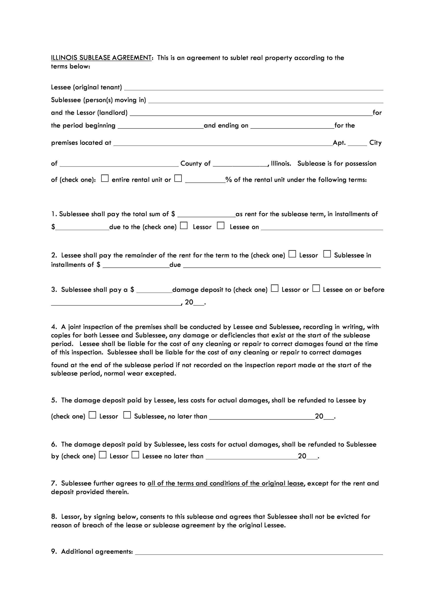 006 Excellent Free Sublease Agreement Template Pdf Example  Room Rental Car Form Residential LeaseFull