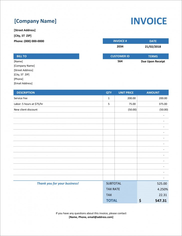 006 Excellent Invoice Excel Example Download 728